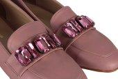 Ayakkabı Babet Düz Model Pudra Taşlı-2