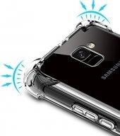 Samsung Galaxy A8 2018 Kılıf Anti Shock Köşeli Silikon + Cam