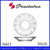 Paşabahçe 6lı Optik Çay Tabağa Takımı 54411 Kaliteli Cam Ürün -2