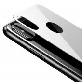 Baseus Full Kavisli iPhone XS Max Arka Cam Koruyucu Beyaz-4