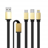 Xiaomi Mi 7 Type C + iPhone + Micro USB 3in1 Şarj Data Kablosu Ço-3