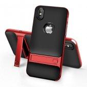 Apple iPhone X Gizli Stand Kırmızı Kılıf Arka Koruyucu Kapak