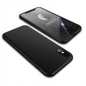 Apple iPhone X 360 Full Koruma Siyah Kılıf Arka Koruyucu Kapak
