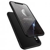 Apple iPhone X 360 Full Koruma Siyah Kılıf Arka Koruyucu Kapak-2