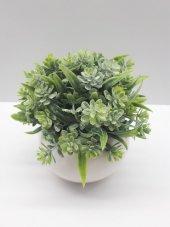 Yapay Çiçek 2 Adet Yeşil Bitki Saksı Tanzim Porselen Saksı