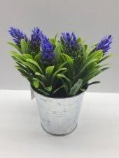 Yapay Çiçek 2 Adet Yeşil Bitki Saksı Tanzim Metal Saksı