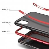 Baseus iPhone X Kılıf Bumper TPU Soft Kapak Kap + Temperli Cam Ek-3