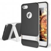 Gizli Stand Ayaklı Gümüş Gri Apple İphone 7 Kılıf Arka Koruyucu K