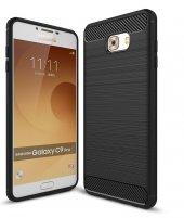 Samsung Galaxy C9 Pro Kılıf Rush Arka Kapak Siyah + Ekran Koruyuc