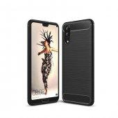 Huawei P20 Pro Solid Shield Silikon Siyah Kılıf Arka Koruyucu Kap