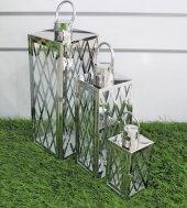 Yeni 3lü Metal Camlı Dekoratif Kafes Model...