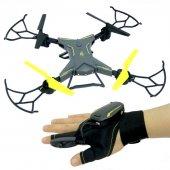 Eldiven Kumandalı Katlanabilen Şarjlı Işıklı Dron Takla Atabilen