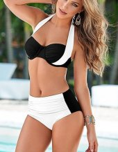 Angelsin Kaplı Siyah Beyaz Şık Tasarımlı Bikini-5
