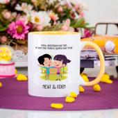 Kişiye Özel Kız Erkek Dostluk Kupa - Sarı