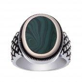 925 Ayar Gümüş Yeşil Sıkma Taş Erkek Yüzük-2