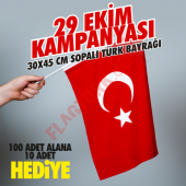 Sopalı Türk Bayrağı 30x45 cm Alpaka Kumaş 100 Adet+10 Adet HEDİYE