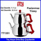 Taç TT1351 Asya Orta Boy Kırmızı Kulplu Çaydanlık-2