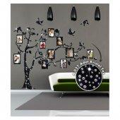 Aile Ağacı-1 Kristal Taşlı Kadife Duvar Sticker 6027 Adet Kristal Taş 148X170 Cm