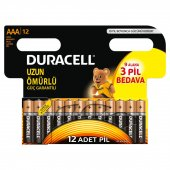 Duracell Alkalin AAA İnce Kalem Pil (9+3) 12li Paket