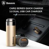 Baseus CarQ serisi Hızlı Şarj 3,0 çift USB Şarj Gök Gri-3