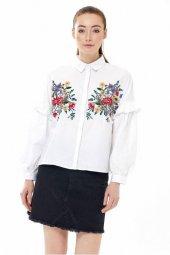 çiçek İşli Kol Fırfırlı Terikoton Gömlek