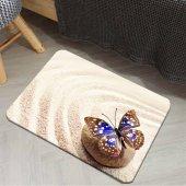 Else Sarı Kum Mavi Kelebekli Dekoratif Yatak Odası Halı Paspası