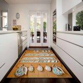 Kadser Tahta Raf Bardak 3d Desenli Dekoratif Modern Mutfak Halısı