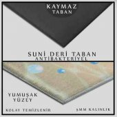 KADSER YEŞİL YAPRAKLAR GEOMETRİK 3D BANYO SALON YUVARLAK HALI-2