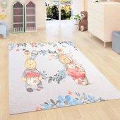 Kadser Çiçekli Sevimli Tavşan 3d Modern Bebek Çocuk Odası Halısı