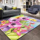 Kadser Renkli Sulu Boya Çiçekler 3d Modern Salon Mutfak Halısı