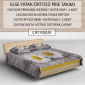ELSE GRİ PAPATYALAR 3D DEKORATİF MODERN YATAK ÖRTÜSÜ PİKE TAKIMI-3