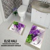 Else Mor Orkide Sonıl Puskullu 3d Banyo Paspası Klozet Takımı