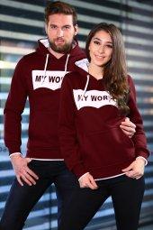 Sevgili Kombinleri Bordo Sweatshirt Kapüşonlu My World