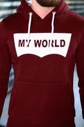Sevgili Kombinleri Bordo Sweatshirt Kapüşonlu My World-3