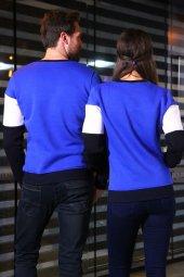Sevgili Kombinleri Parçalı Desenli Sweatshirt-2