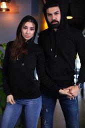 Sevgili Kombinleri Siyah Kapşonlu Kanguru Cepli Sweatshirt-2