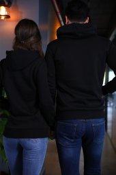 Sevgili Kombinleri Siyah Kapşonlu Kanguru Cepli Sweatshirt-3