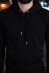 Sevgili Kombinleri Siyah Kapşonlu Kanguru Cepli Sweatshirt-4