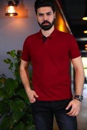 Kırmızı Polo Yaka Tshirt - Kısa Kollu Tişört - Basic T-shirt