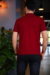 Kırmızı Polo Yaka Tshirt - Kısa Kollu Tişört - Basic T-shirt-2