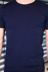 Lacivert Tshirt Bicycle Yaka Kısa Kollu Basic Slim Fit-2
