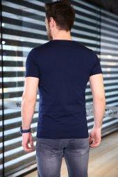 Lacivert Tshirt Bicycle Yaka Kısa Kollu Basic Slim Fit-3