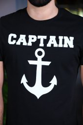 Captain Tişört Siyah Bicycle Yaka Tshirt Kısa Kollu T-shirt-2