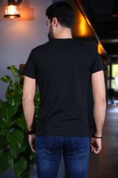 Captain Tişört Siyah Bicycle Yaka Tshirt Kısa Kollu T-shirt-3
