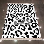 Else Siyah Beyaz Leopar Dekoratif Modern 3d Kilim Şönil Halı