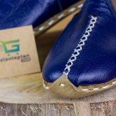 Mavi Renkli Beyaz Dikişli Deri Bayan Erkek Yemeni Günlük Ayakkabı-2