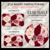 Else Kırmızı Güller 3d Klozet Takımı Banyo Paspas Seti Halısı