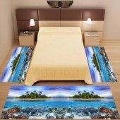 Else Deniz Manzaralı 3d 3 Boyutlu Yatak Odası Halısı 3 Lü Seti