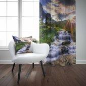 Else Güneş Nehir Desenli Dekoratif Baskılı 3d Fon Perde