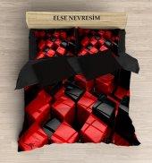 Else Kırmızı Kutular 3 Boyutlu Çift Kişilik 3d Nevresim Takımı